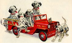 vintage dalmatian puppies dogs fire truck by FrenchFrouFrou, $14.95