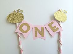 Pumpkin Pink and Gold Cake Bunting Banner.  1st Birthday Cake.  Smash Cake.  Cake Decor.  Princess Party by PaperTrailbyLauraB on Etsy