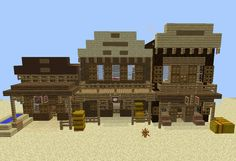 Wild West Shops - GrabCraft - Your number one source for MineCraft buildings, blueprints, tips, ideas, floorplans! Minecraft Restaurant, Minecraft Shops, Minecraft City, Minecraft Plans, Minecraft Survival, Minecraft Construction, Minecraft Tutorial, Cool Minecraft, Minecraft Crafts