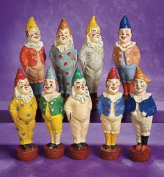 Lulu's Story: 169 Rare Complete and Near Mint French Paper Mache Clowns as Nine-Pin Jeu de Quilles Set