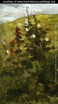 Hollyhocks - John Henry Twachtman - www.most-famous-paintings.org