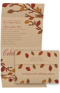 Autumn Touch Seal and Send Wedding Invitation by David's Bridal | Follow us and start pinning pretty paper options - from invitations and save the dates to programs and table numbers - for a chance to win $1,000 to InvitationsbyDavidsBridal.com. Enter here: http://sweeps.piqora.com/rsvpready