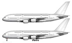 All white A380-800 side view