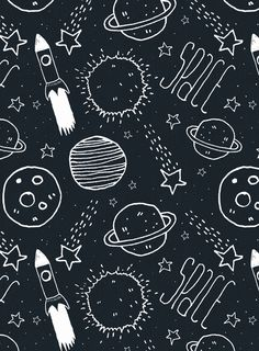 Space Doodles Art Print by Tracie Andrews Art, digital illustration decor poster