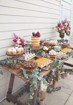 A rustic dessert table for a secret garden themed bridal shower! The bright flow… A rustic dessert table for a secret garden themed bridal shower! The bright flowers add a whimsical touch!✨ {Inspired by Kara's Party Ideas . Garden Party Theme, Rustic Theme Party, Rustic Garden Party, Vintage Garden Parties, Garden Party Wedding, Boho Themed Party, Garden Table, Herb Garden, Wedding Desserts