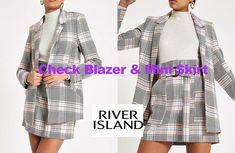 Pink check mini skirt and blazer from River Island Fashion Line, Teen Fashion, Fashion News, Womens Fashion, Check Mini Skirt, River Island Fashion, Irish Fashion, Checked Blazer, Polo Neck
