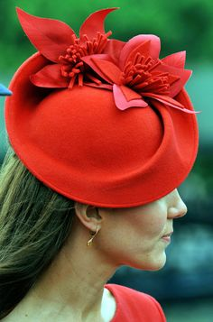 Detail of Kate Middleton's Red Jubilee Fascinator Hat. #milinery #judithm #hats