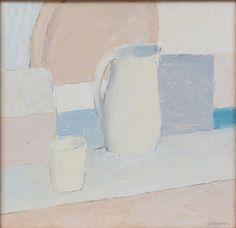 Olle Nyman (Swedish, 1909-1999), Stilleben med kanna och glas, n/d. Oil on panel, 47x48 cm