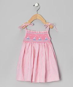 Pink Stripe Smocked Sailboat Dress - Infant & Girls