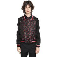 Lanvin Men Silk Blend Jacquard Bomber Jacket ($2,900) ❤ liked on Polyvore featuring men's fashion, men's clothing, men's outerwear, men's jackets, men's sherpa lined jacket, mens blouson jacket, mens flight jacket and mens leopard print jacket