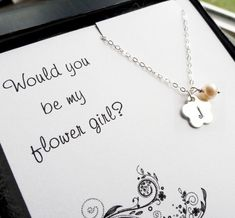 Will you be my flower girl card & personalized necklace by Bri Guys Girls $27 #wedding #bride #gifts