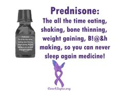 Prednisone-corticosteroid used to treat inflammatory diseases and some cancers. The great thing about prednisone is that it's a really effective immunosuppressant - it's the go-to drug for treating autoimmune disorders (myasthenia gravis, ms, lupus, Crohn's and colitis, rheumatic disorders & transplant rejection). The bad thing about prednisone is that it has awful side effects.  increased glucose levels, Prednisone=Puffy, depression, high risk of infection. Must be weaned off medication.