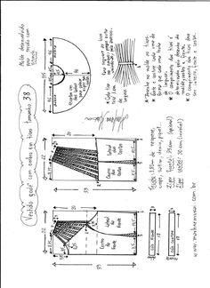 Patrón de un lindo y original vestido, con falda acampanada, cremallera central en la parte delantera del cuerpo y tiras en de los hombros. Tallas desde la 36 hasta la 56. Talla 36: Talla 38: Talla 40: Talla 42: Talla 44: Talla 46: Talla 48: Talla 50: Talla 52: Talla 54: Talla 56: … T Shirt Sewing Pattern, Pattern Drafting, Dress Sewing Patterns, Sewing Patterns Free, Clothing Patterns, Sewing Class, Sewing Box, Sewing Alterations, Techniques Couture