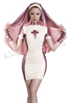 Sale. Rubber Nymph Nun Two Piece Latex Uniform. . Product code R936. www.westwardbound.com. www.facebook.com/westwardbound.latex.