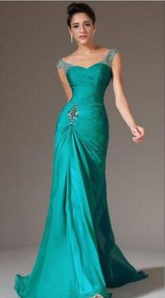 Mermaid Beaded Long Prom Dresses Formal Gowns Chiffon Pleat Dark Green  Cheap Evening Party Gowns 50771d7f0052