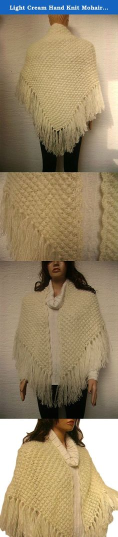 Light Cream Hand Knit Mohair Fringe, Tassel Shawl. A hand-knit, cuddly and soft fringed shrug for everyday. Material: Mohair, acrylic. Properties: Hand Wash or Dry Cleaning. No iron. Measurements: Length without Fringe: ~59 inches (150 cm) Length of Fringe: ~6.7 inches (17 cm) Height without Fringe: ~28.3 inches (72 cm) Please note that the colors of the products may differ slightly due to the different color resolutions of individual computers, tablets and mobile devices.