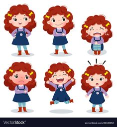 Curly red hair girl showing different emotions Vector Image Red Hair Cartoon, Cartoon Clip, Girl Cartoon, Little Girl Crafts, Little Girls, Kid Character, Character Design, Children Sketch, Different Emotions