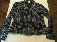 Rave Black w/ White Plaid Women's Blazer Jacket Size XL USA 100% Acrylic