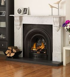 Wood Fireplace Inserts, Cast Iron Fireplace, Old Fireplace, Fireplace Surrounds, Marble Fire Surround, Marble Hearth, Fire Inserts, Electric Fireplace Suites