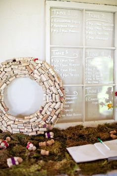 escort board with wine corks