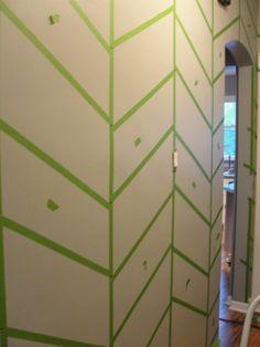 Painted Wall Pattern How to: herringbone wall