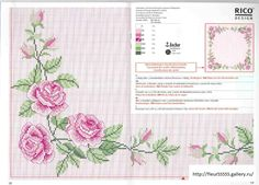 Cross-stitch Pink Roses Tablecloth, part Gallery. Cross Stitch Love, Cross Stitch Borders, Cross Stitch Flowers, Cross Stitch Charts, Cross Stitch Designs, Cross Stitching, Cross Stitch Embroidery, Embroidery Patterns, Hand Embroidery