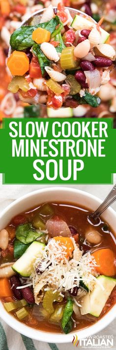 Slow Cooker Minestrone Soup is a perfect hearty and comforting soup, perfect for a cool day! This easy minestrone soup recipe is packed full of fresh vegetables, pasta, and beans and made in the crock-pot so you can have a delicious soup with little effort!