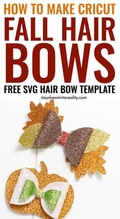 Homemade Hair Bows, Diy Hair Bows, How To Make Hair, How To Make Bows, Bow Template, Templates, Paper Bows, Cricut Explore Projects, Halloween Bows