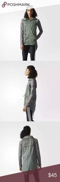 adidas Climastorm Training/Running Vest Stay dry and comfortable in windy and rainy conditions in this women's training vest. Built with laminated polyester mesh fabric, it has a lightweight, breathable and water-repellent design. A split-droptail design provides extra coverage and features adjustable bungee drawcords at the waist and hem. adidas Jackets & Coats Vests