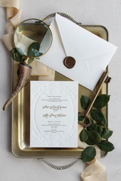 Elegant letterpress wedding invitations, handmade envelopes with wax seal / © PAPIRA invitatii de nunta personalizate