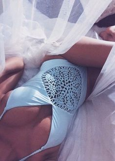 Floralkini Halter Crochet Hollow Out Monokini Swimsuit