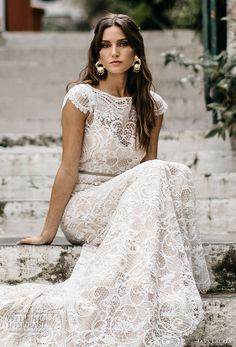 tara lauren spring 2017 bridal cap sleeves bateau neckline full embroidered elegant lace trumpet sheath wedding dress keyhole back chapel short train (chiara) zv
