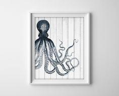 Wood Offset Octopus Nautical Art Print - Sea Life Beach Bathroom Decor - Navy Blue Octopus - Nautical Rustic White Wood - SKU: 056 di BySamantha su Etsy