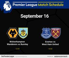 Match Schedule, Premier League Matches, Burnley, West Ham, Wolverhampton, Everton