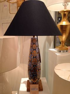 Josephine table lamp (style 6232) from the always chic Currey & Co. IHFC M-110. This collection is inspired by historic textiles and wallpapers in the Winterthur Museum Collection. Reaching back to move forward with an innovative design is logical and wise. The beauty is undeniable. Oct. 2014