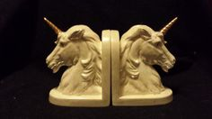 VintageUnicorn Bookends Renaissance Unicorn Bust 7 by TSoriginals