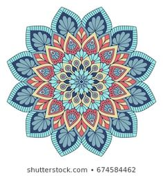 Imágenes similares, fotos y vectores de stock sobre Vector, elegant mandala, with intricate detail. Stained glass in blue colors. Oriental element of decor.; 269505206 | Shutterstock Mandala Art, Mandala Pattern, Pattern Art, Dot Painting, Painting & Drawing, Mandala Coloring Pages, Turkish Art, Yoga Art, Whimsical Art