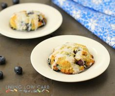#LowCarb Glazed Blueberry Biscuits Shared on https://www.facebook.com/LowCarbZen