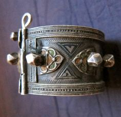 Antique Berber Hinged Pure Silver Bracelet with by TuaregJewelry, $568.00