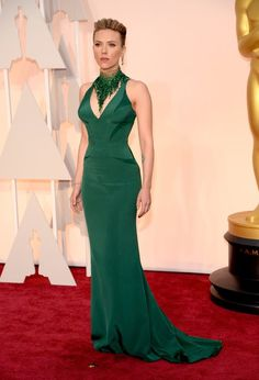 Scarlet Johansen looked otherworldly fierce in a stunning green Versace gown and matching statement necklace.