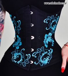 135c0a5a8a1 Cyan blue black embroidery lace gothic underbust corset