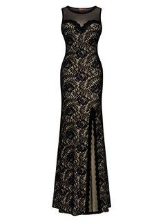 Miusol® Women's Sleeveless Very long Black Lace Break up Side Evening Formal Costume