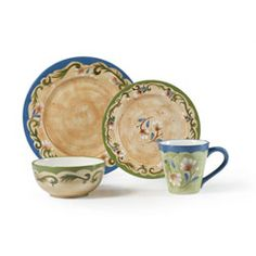 @Overstock - This dinnerware pattern from Pfaltzgraff offers your table a beautiful Tuscan atmosphere in gorgeous, garden-like colors. This Tuscany floral set features a delicate white and green floral design for a touch of the Italian countryside.http://www.overstock.com/Home-Garden/Pfaltzgraff-Tuscany-Floral-16-piece-Dinnerware-Set/5986148/product.html?CID=214117 $79.99