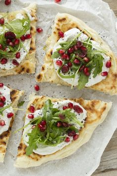 flatbread with burrata, rucola and pomegranate