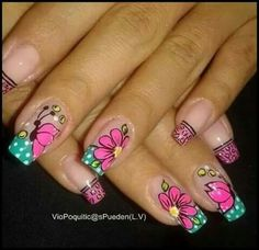 Butterflies and flowers Simple Nail Art Designs, Beautiful Nail Designs, Nail Polish Designs, Butterfly Nail, Flower Nail Art, Minimalist Nails, May Nails, Hair And Nails, Fabulous Nails