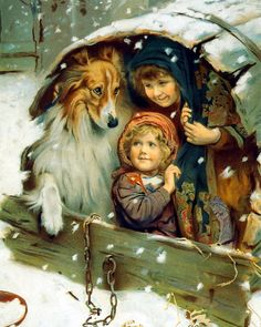 Victorian Children & Rough Collie Share Shelter from Falling Winter Snow