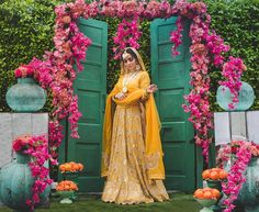 Looking for Happy and a beautiful bride on her Haldi ceremony. Browse of latest bridal photos, lehenga & jewelry designs, decor ideas, etc. on WedMeGood Gallery. Indian Wedding Planning, Wedding Planning Websites, Event Planning, Outdoor Weddings, Rustic Weddings, Indian Weddings, Romantic Weddings, Haldi Ceremony, Elegant Centerpieces