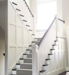Stairwell Wainscotting. Stairwell Wainscotting, dark hardwood floors and…
