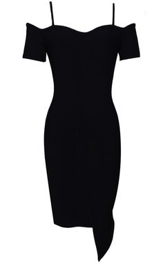 Bardot Asymmetric Bandage Dress Black - Little Black Dresses and Celebrity Inspired Fashion