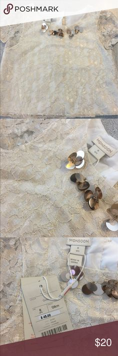 MONSOON NWT girls lace Formal top size 8 Fancy and fabulous! NWT perfect for any dressy occasion Monsoon Shirts & Tops Blouses